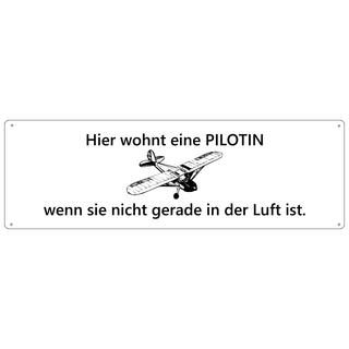 HIER WOHNT EINE PILOTIN Türschild Schild Haustür Wohnungstür Geschenk