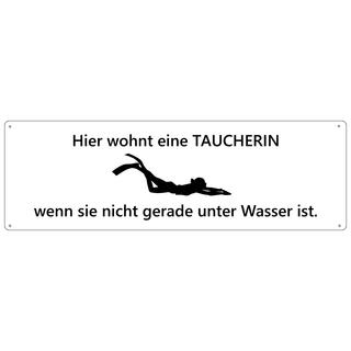 HIER WOHNT EINE TAUCHERIN Türschild Schild Haustür Wohnungstür Geschenk