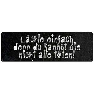 LÄCHLE EINFACH Dekoschild Spruch Schild Metallschild Wandschild