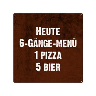 20x20cm Blechschild HEUTE 6-GÄNGE MENU Deko Küche Restaurant Pizzeria Vintage Schild