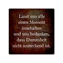 20x20cm Blechschild LASST UNS ALLE EINEN MOMENT Dummheit...