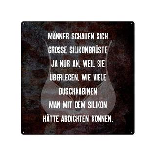 20x20cm Schild MÄNNER SCHAUEN SICH GROSSE SILIKONBRÜSTE Blechschild