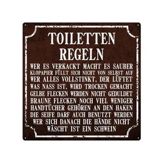 20x20cm Blechschild TOILETTEN REGELN Dekoschild Bad WC Gäste