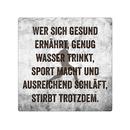 20x20cm Schild WER SICH GESUND ERNÄHRT Blechschild...