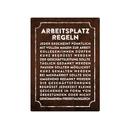 WANDSCHILD 28x20cm ARBEITSPLATZREGELN für CHEF und...