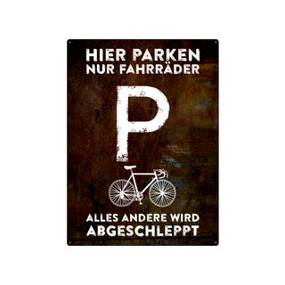 PARKSCHILD 28x20cm HIER PARKEN NUR FAHRRÄDER Radfahrer Metallschild wetterfest