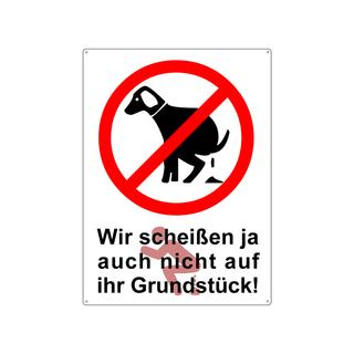 Schild 28x20cm HUNDEHAUFEN VERBOTEN *WEISS* Metallschild wetterfest Hundeklo Hundekot