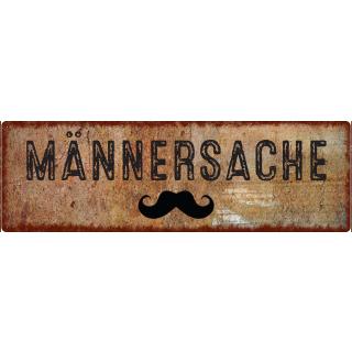 METALLSCHILD Blechschild MÄNNERSACHE Mann Bart Shabby Vintage Rost Schnurrbart