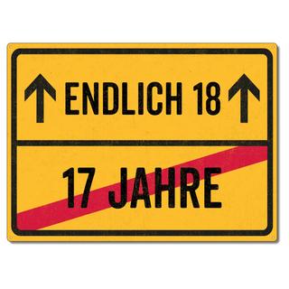 Schilderkönig Metallschild 28x20cm - Endlich 18 - Schild zum 18. Geburtstag, Partydeko wetterfestes Ortsschild Ortstafel witziges Geburtstagsgeschenk