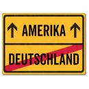 Schilderkönig Metallschild 28x20cm - Deutschland Amerika - Schild für USA Auswanderer wetterfestes Ortsschild Ortstafel Abschiedsgeschenk