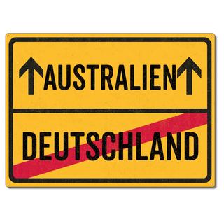 Schilderkönig Metallschild 28x20cm - Australien Deutschland - Schild für USA Auswanderer wetterfestes Ortsschild Ortstafel Abschiedsgeschenk