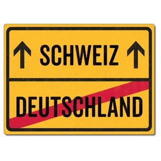 Schilderkönig Metallschild 28x20cm - Schweiz Deutschland - Schild für Auswanderer wetterfestes Ortsschild Ortstafel Abschiedsgeschenk