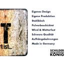 Schilderkönig Metallschild 28x20cm - Glücklich Geschieden - Schild zur Scheidung wetterfestes Ortsschild Ortstafel Wandschild