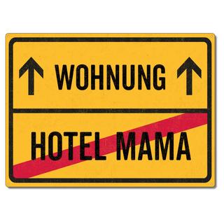 Schilderkönig Metallschild 28x20cm - Wohnung Hotel Mama - Schild zur ersten Wohnung wetterfestes Ortsschild Ortstafel Einzugsgeschenk
