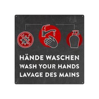Schilderkönig Metallschild 20x20cm - Hände waschen mehrsprachig - Hinweisschild für Toilette, Bad, WC oder Waschbecken in Werkstatt, Firma, Lager, Büro