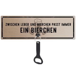Schilderkönig Metallschild mit Flaschenöffner - Zwischen Leber und Nierchen passt immer ein Bierchen  - Schild mit Spruch Wandöffner, Wandflaschenöffner, Stubbi, Männer