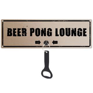 Schilderkönig Metallschild mit Flaschenöffner - Beer Pong Lounge - Schild mit Spruch Wandöffner, Bier, Wandflaschenöffner, Männer, Party