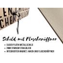 Schilderkönig Metallschild mit Flaschenöffner - Einer geht noch - Schild mit Spruch Wandöffner, Wandflaschenöffner, Stubbi, Männer